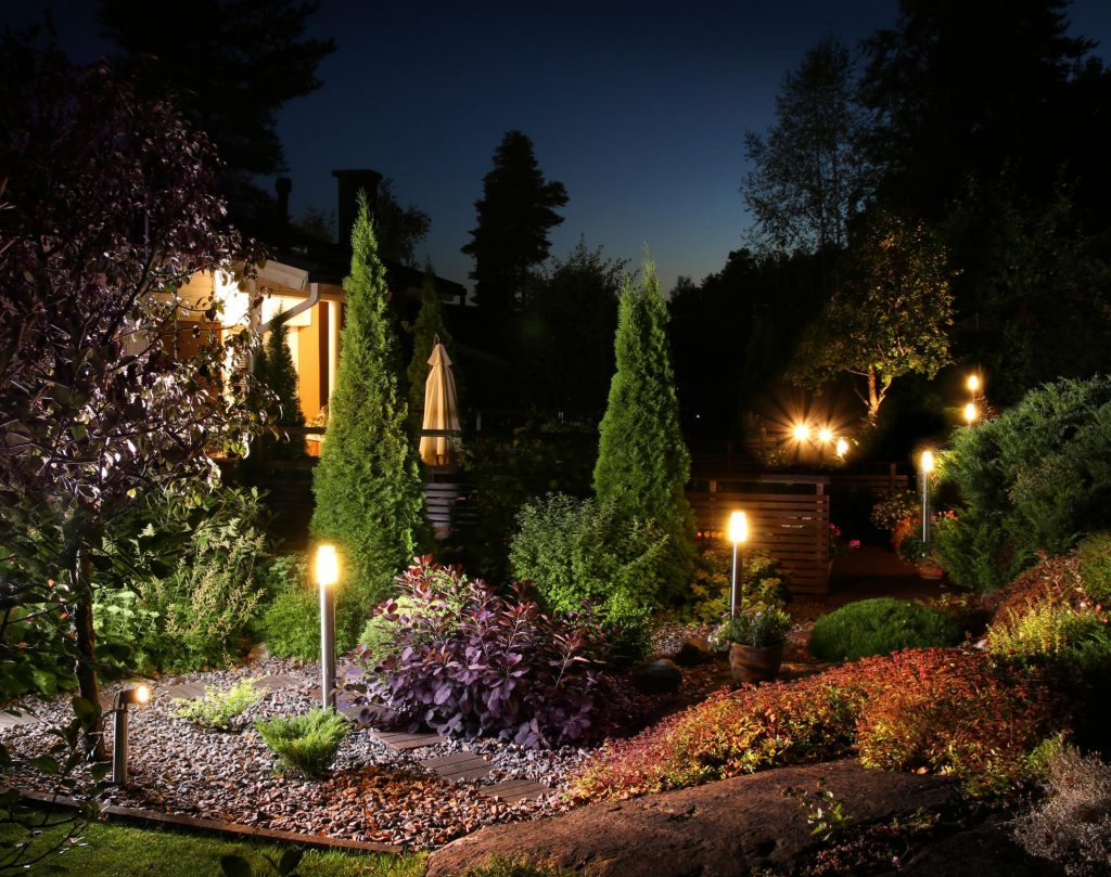 green scenery of landscaping night view